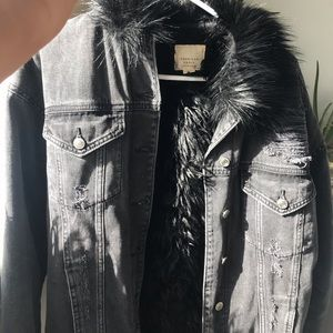 Black denim jacket with fur interior